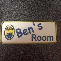 3D PRINTED PERSONALISED NAMED MINION DOOR PLAQUE
