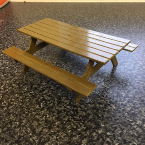 DOLLS HOUSE WOODEN PICNIC BENCH 1/12 SCALE